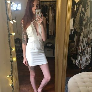 Forever 21 White Strappy Low Cut Mini Dress